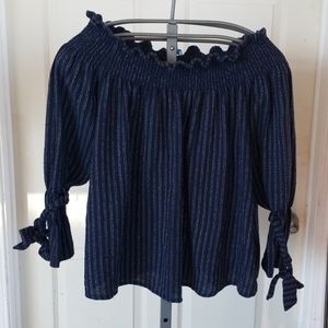 NAVY WITH WHIT STITCHING TOP
